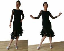 Vestido Elástico Salón de Baile Latino Con Doble Malla Volante & Manga Larga Negro.