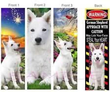 3-WHITE GERMAN SHEPHERD Dog BOOKMARK Book Mark-ART WARNING Sign on Top of Card