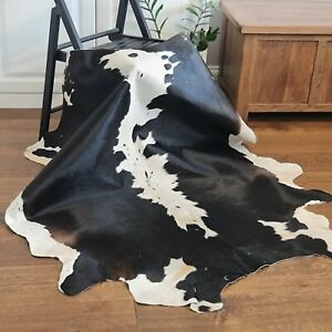 Cow hide, hand crafted soft hair-on Animal skin real rug | Dark Brown & White