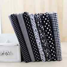 7 pcs BUNDLE black COTTON FABRIC FLORAL quilting patchwork Crafts stars dots