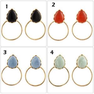 Natural Blue Opal Amazonite 24k Gold Plated Prong Setting Hoop Bali Earrings