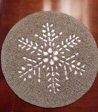 """New listing New Nicole Miller Beaded Placemat Snowflake Placemat Nicole Miller 15"""" Holiday"""