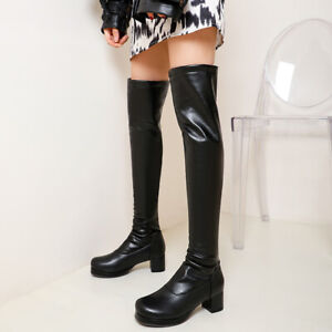 Women Platform Stretch Over Knee Boots Fashion Block Heels RoundToe Party Shoes