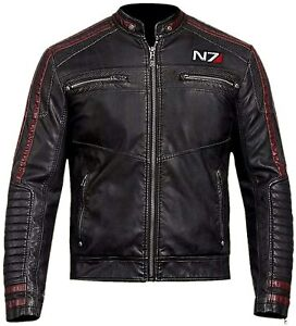 Mass Effect N7 Street Fighter Real Leather Black Biker Jacket
