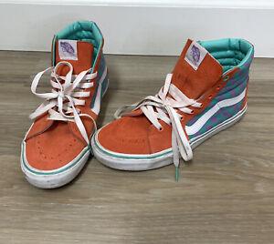 vans sk8 hi chex skate shoe teal purple burnt orange Men's 9 Women's 10.5