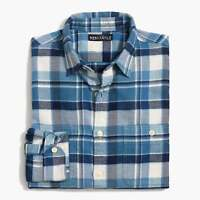 New Men's J. Crew Slim-Fit Blue White Plaid Flannel Shirt Sizes Large or X-Large