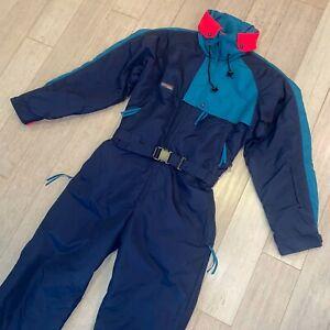 COLUMBIA One Piece Ski Suit Snow Bib retro Snowsuit Navy 80s 90s vtg Mens MEDIUM