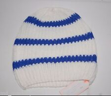 NEW Gap Womens Hat Beanie Cap Soft Cashmere Blend Knit Blue White Stripe OS NWT