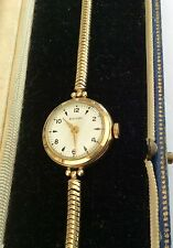Beautiful Ladies Stylish Early Vintage Snake Bracelet Rotary Solid Gold Watch