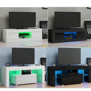 Modern LED TV Cabinet Stand Storage Unit High Gloss Front White/Black 125-130cm