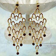 18K Gold Plated Topaz Crystal Rhinestone Chandelier Drop Dangle Earrings 08663
