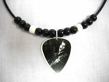 BLACK & WHITE YOUNG SINGING ELVIS PRESLEY PHOTO GUITAR PICK PENDANT ADJ NECKLACE