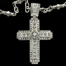 "Modern Fancy Large Sterling Silver Cross  with 27"" Silver Chain For Men"