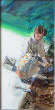 Gardening by Paul Melia - Original Charcoal Pencil Watercolor & Gouache Painting