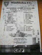 30/09/2000 Teamsheet: Wimbledon v Stockport County (Folded, Writing On Front). N