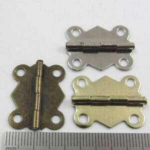 10 PLATED MINIATURE HINGES HARDWARE 19 x 24mm SMALL DOLLHOUSE JEWELLRY BOX CIGAR