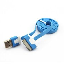 Blue Flat Cable for iPhone 4S 4 3GS iPad 2 3 Data Sync Charger USB Lead