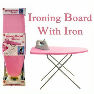 Kids Girls Pink Ironing Board & Iron Metal Legs 50cm Pretend Role Play Toy
