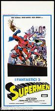 I FANTASTICI 3 SUPERMEN LOCANDINA CINEMA AZIONE SUPER EROI 1967 PLAYBILL POSTER
