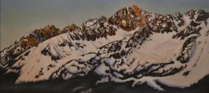 Robert West Pre Dawn Glow Sawtooth Mountains Idaho Original Oil Painting 15x30