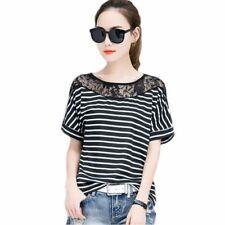 Camisas y tops de mujer de manga corta color principal negro encaje