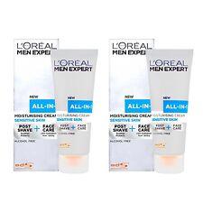 2 x L'Oreal Men Expert All-In-One Sensitive Face Cream 75ml For Sensitive Skin