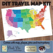 DIY Colorful US Push Pin Travel Map Kit