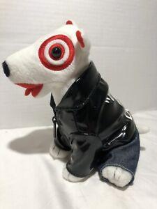 Target Bullseye Dog Plush Bull Terrier T Dogs Black Embroidered Leather Jacket