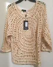 Crochet Wide  Neck 3/4 Sleeve Top By GITI  Color Beige Size One Size NWT