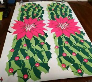 Original Vintage Blacklight Poster Christmas Poinsettia Holly