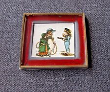 VINTAGE MINIATURE PAPER PRINT WITH  PLASTIC FRAME FOR DOLLS