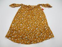 new MOSSIMO T4123 Women's Size L Off Shoulder Floral Print Yellow Tunic Top