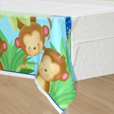 BABY BOY MONKEY PLASTIC TABLE COVER ~ Shower Party Supplies Decorations Cloth