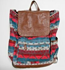 Aeropostale Fabric Southwestern Design Brown Faux Leather Back Pack