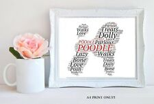 PERSONALISED POODLE WORD ART GIFT DOG PET KEEPSAKE A4 AFFIX