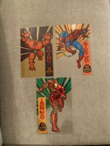 """1994 Fleer Marvel Cards Universe 6.5"""" x 10"""" 3 card acetate set w/posters RARE"""
