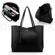 US Stock Women Designer Shoulder Bag Tote Handbag Ladies Bags PU Black Large