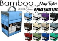 NEW Ashley Taylor Bamboo Essence 2000 Series Queen Size 6 Piece Sheet Set