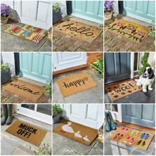 Heavy Duty Natural Coir Door Mats Novelty Indoor Outdoor Entrance Front Welcome