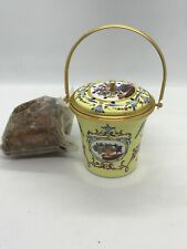 Fab! Vintage Halcyon Days Yellow Enamel Floral Perfume Sachet Diffuser Bucket