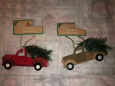 """2 FARMHOUSE CHRISTMAS ORNAMENTS VINTAGE Country NEW RED BROWN Truck 5"""" LONG"""