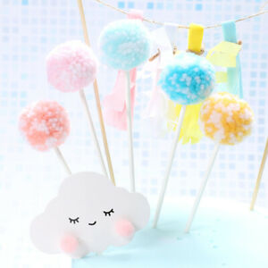 Rainbow Cake Toppers Cloud Balloon Cake Flags Kids Birthday Party Cupcake Topper