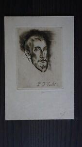 COUSSENS ARMAND (1881-1935)-PORTRAIT DE P.J TOULET - GRAVURE ORIGINALE SIGNEE