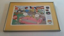 """The Simpsons Road Rage Game Stainless Glass Framed Lithograph Print 13.5x19.5"""""""