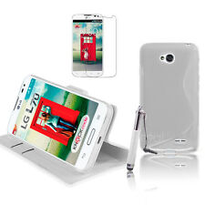 WHITE Wallet 4in1 Accessory Bundle Kit Case Cover For LG L70