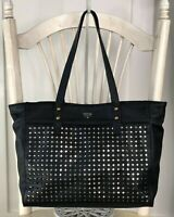 FOSSIL Black Perforated Man Made Vegan Tote Lg Shoulder Handbag Carryall Shopper