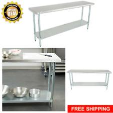 "Commercial 18"" x 72"" Stainless Steel Work Prep Table Undershelf Storage"