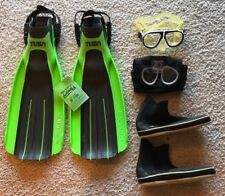 Dacor Mask RX inc,TUSA Imprex Fins w Booties Sz 9, Green&Black, Great Condition!