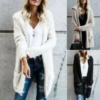 Winter Women Fuzzy Fluffy Coats Cardigan Hooded Long Sweater Jacket Outwear Tops