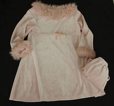24 months Girls Dress pink sparkle velour winter fall faux fur glamour pink
